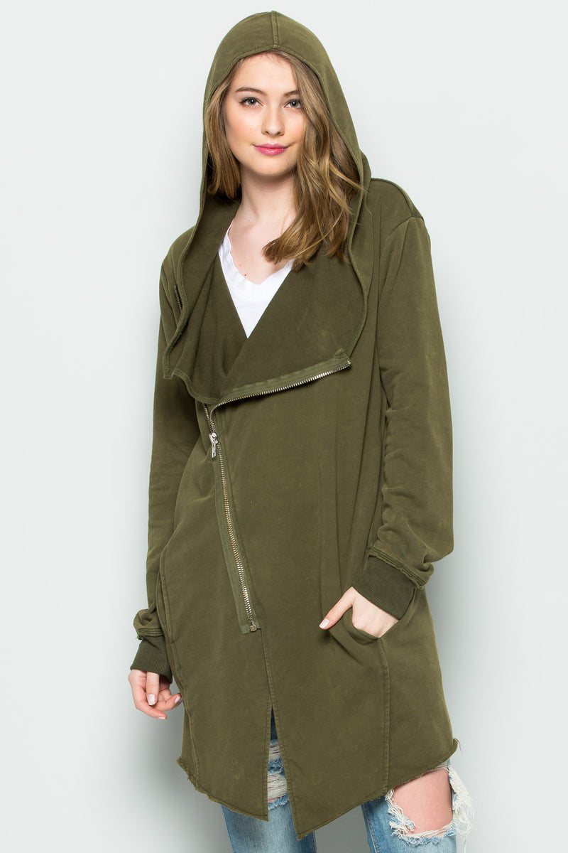 Hooded Asymmetric Zip Up Acid Wash Jacket in Military Green - Jacket - My Yuccie - 3