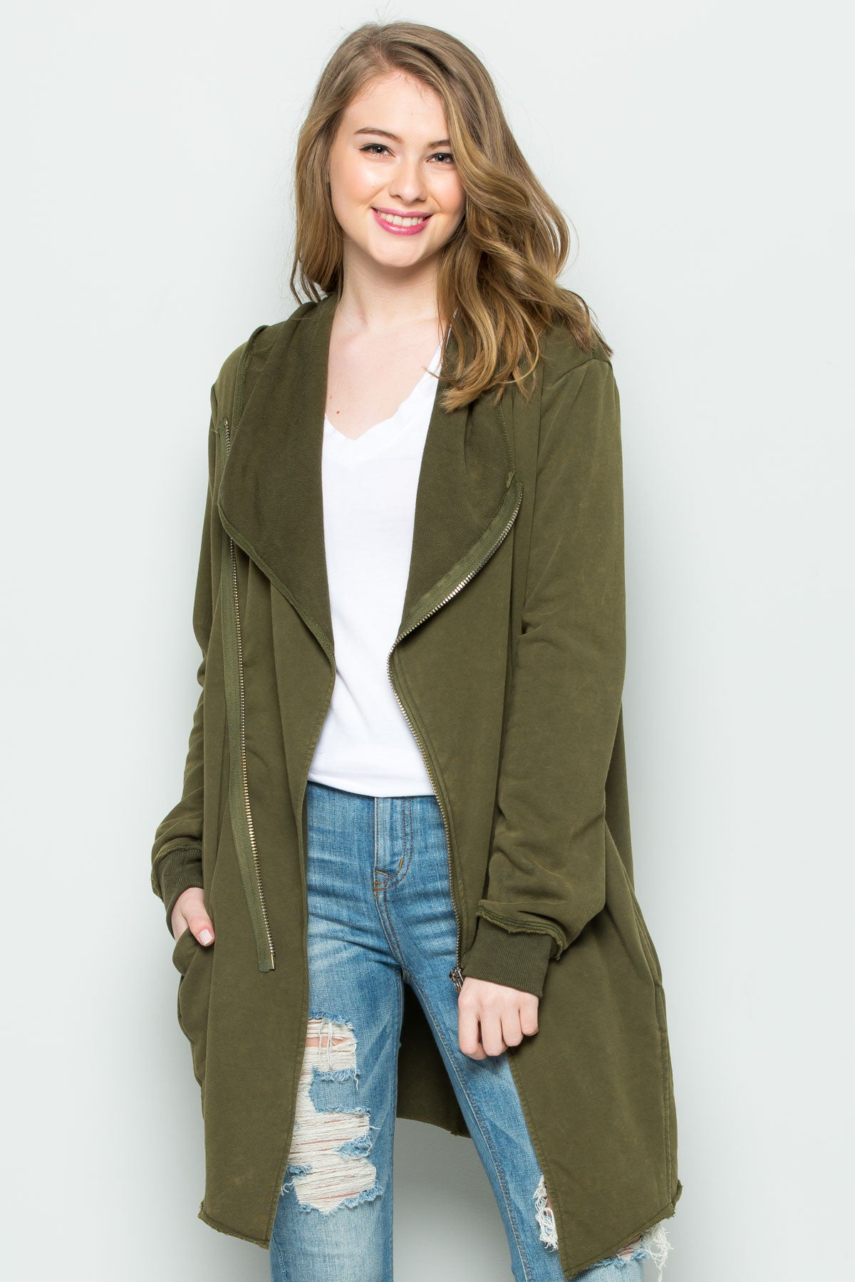 Hooded Asymmetric Zip Up Acid Wash Jacket in Military Green - Jacket - My Yuccie - 6