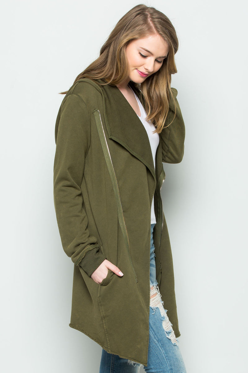 Hooded Asymmetric Zip Up Acid Wash Jacket in Military Green - Jacket - My Yuccie - 7