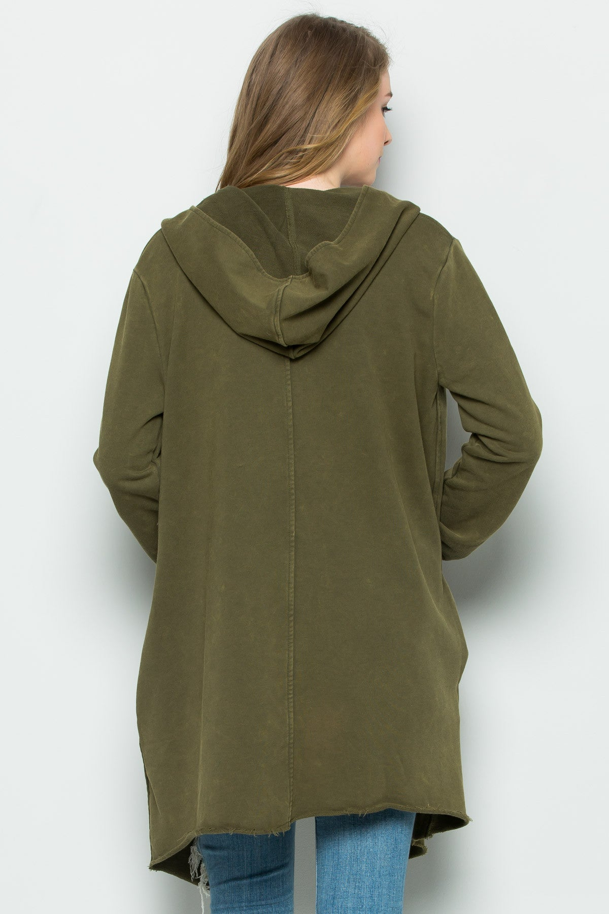 Hooded Asymmetric Zip Up Acid Wash Jacket in Military Green - Jacket - My Yuccie - 4