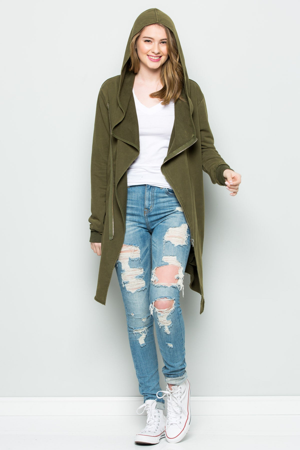 Hooded Asymmetric Zip Up Acid Wash Jacket in Military Green - Jacket - My Yuccie - 10
