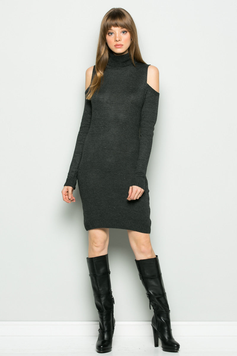 Charcoal Turtleneck Cold Shoulder Knit Dress - Dresses - My Yuccie - 2