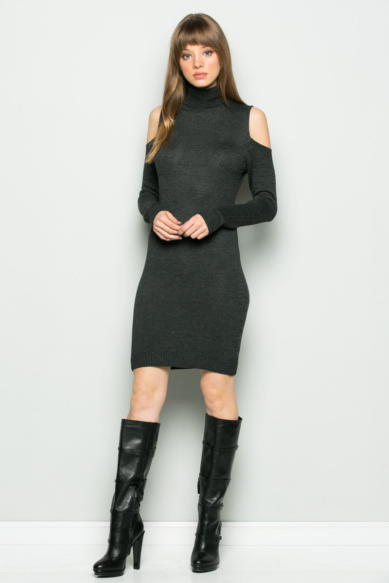 Charcoal Turtleneck Cold Shoulder Knit Dress - Dresses - My Yuccie - 1