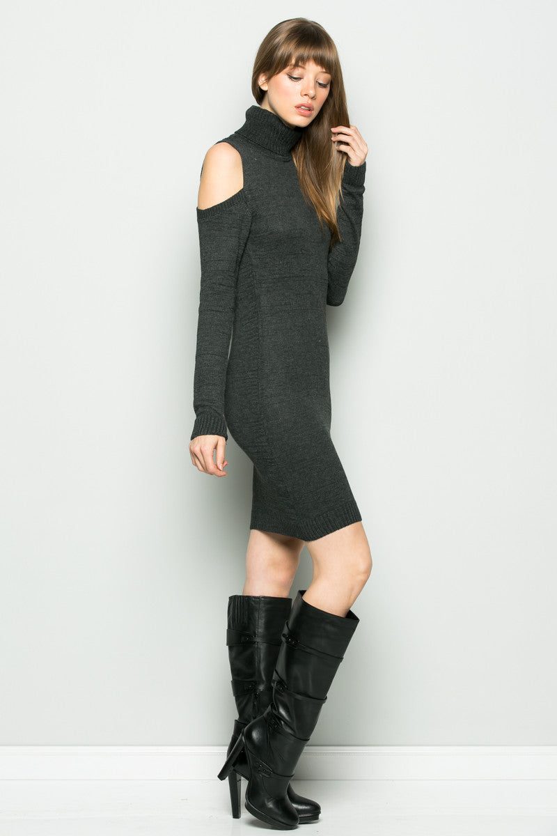Charcoal Turtleneck Cold Shoulder Knit Dress - Dresses - My Yuccie - 3