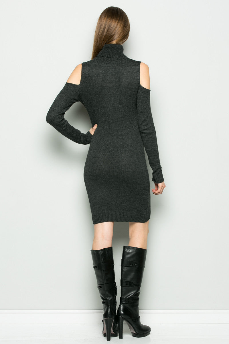 Charcoal Turtleneck Cold Shoulder Knit Dress - Dresses - My Yuccie - 4