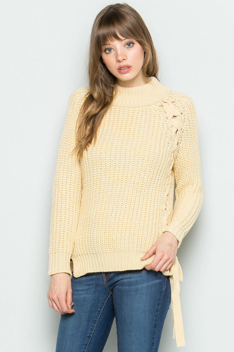 High Neck Side Tie Knit Sweater in Beige - Sweaters - My Yuccie - 6