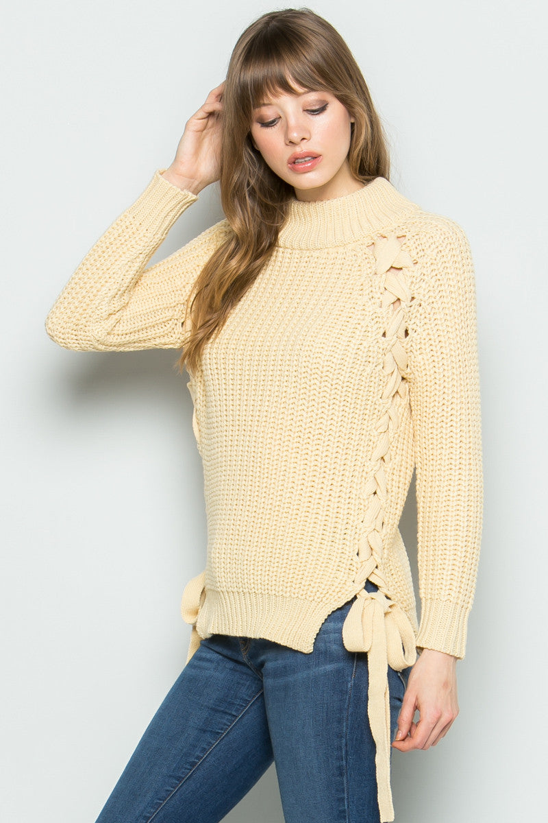 High Neck Side Tie Knit Sweater in Beige - Sweaters - My Yuccie - 7