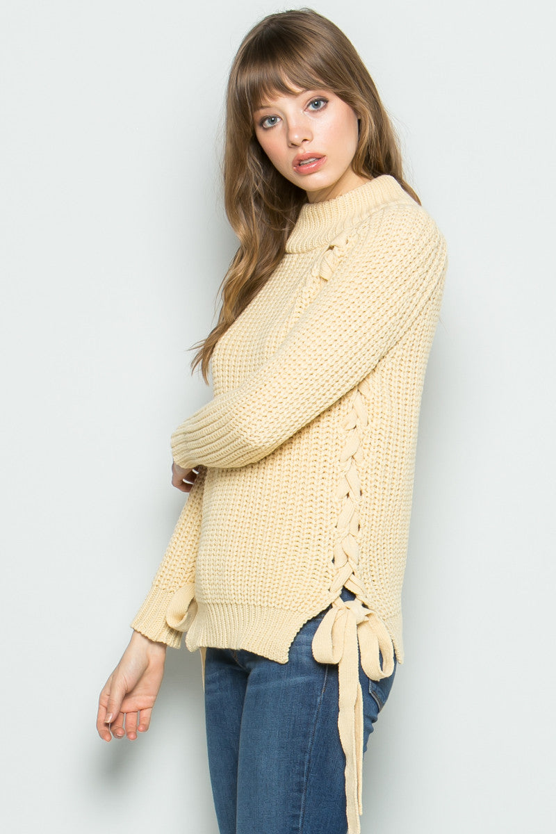 High Neck Side Tie Knit Sweater in Beige - Sweaters - My Yuccie - 2