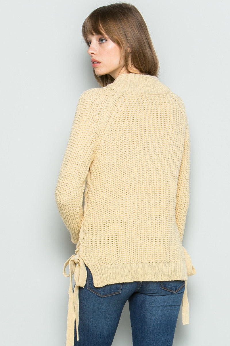High Neck Side Tie Knit Sweater in Beige - Sweaters - My Yuccie - 3