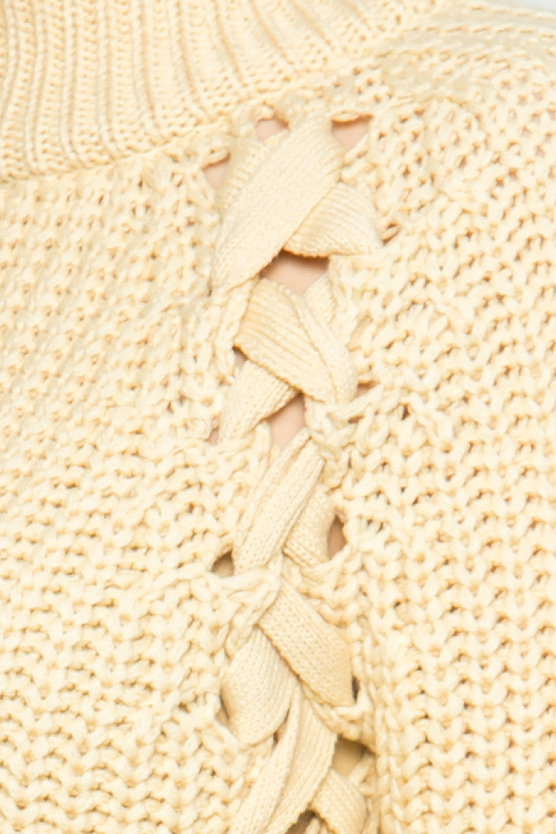 High Neck Side Tie Knit Sweater in Beige - Sweaters - My Yuccie - 5