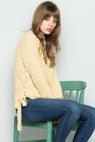 High Neck Side Tie Knit Sweater in Beige - Sweaters - My Yuccie - 1