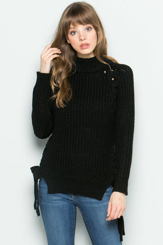 High Neck Side Tie Knit Sweater in Black - Sweaters - My Yuccie - 1