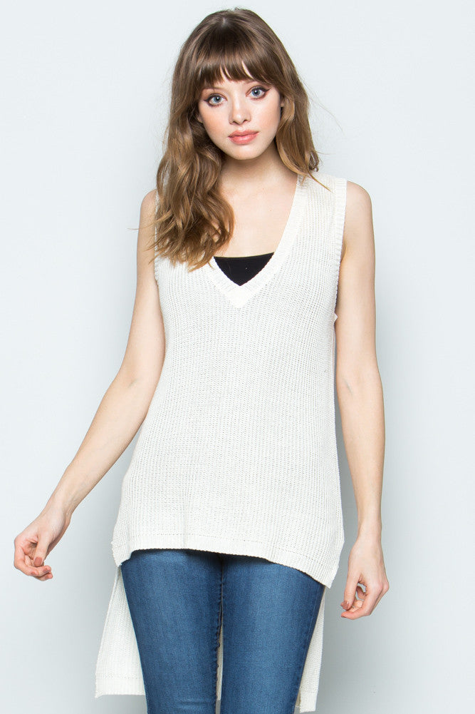 Ivory Hi-low Sleeveless Knit Top
