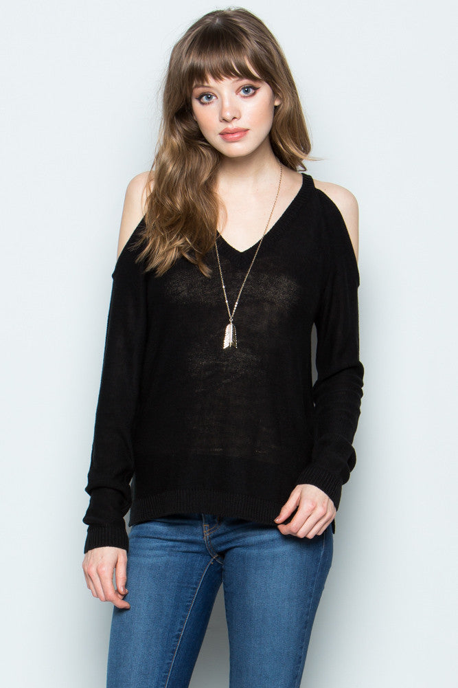 Black Cold Shoulder Knit Sweater
