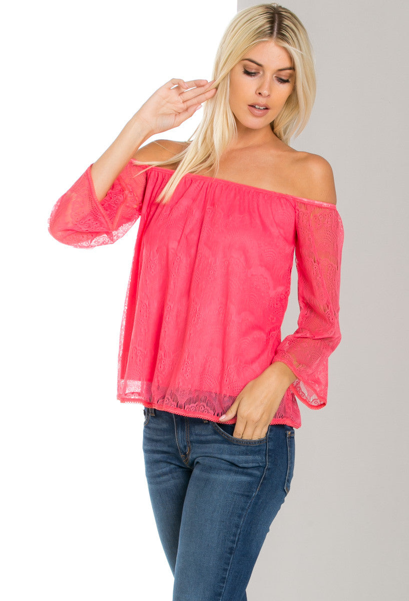 Hope Floats off Shoulders Lace Blouse Fuchsia - Blouses - My Yuccie - 1