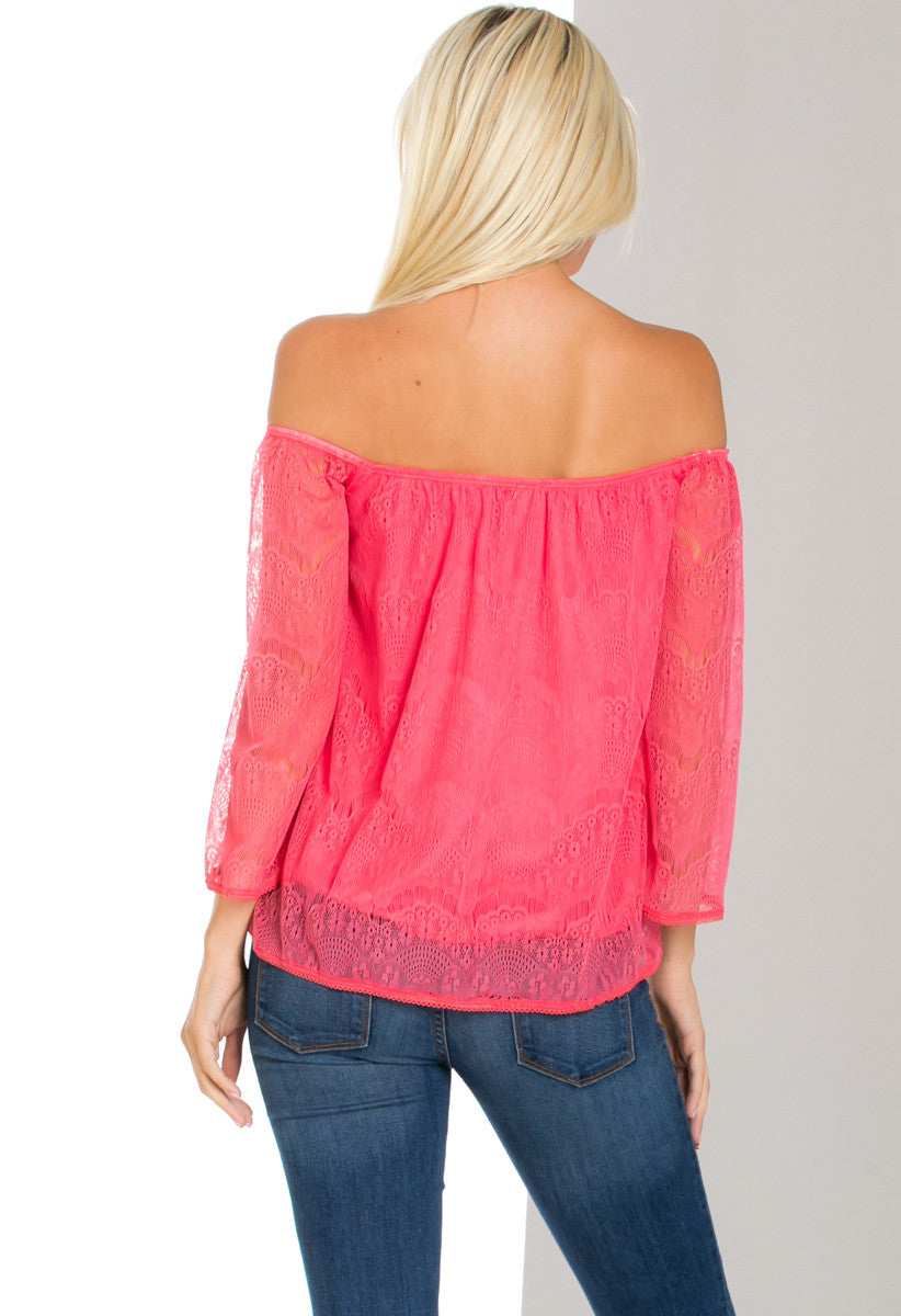 Hope Floats off Shoulders Lace Blouse Fuchsia - Blouses - My Yuccie - 3