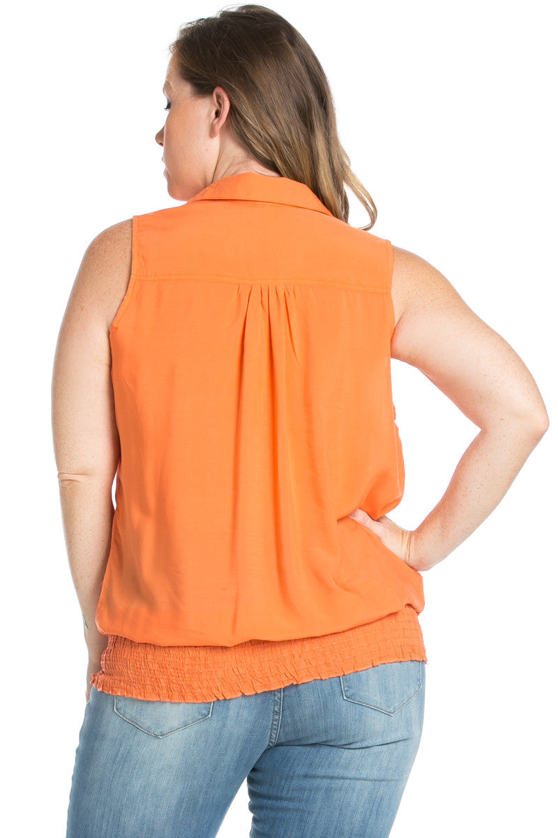 Slim Fit Sleeveless Dark Peach Blouse Plus Size - Tops - My Yuccie - 3