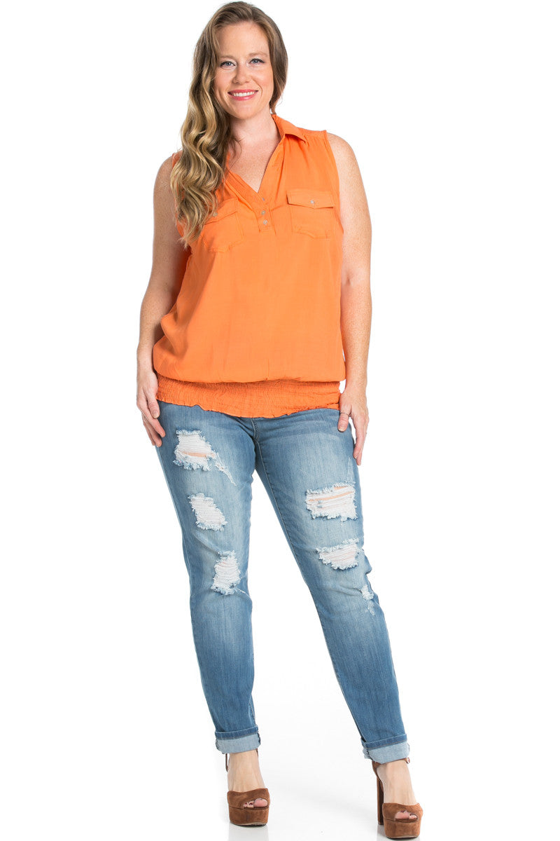 Slim Fit Sleeveless Dark Peach Blouse Plus Size - Tops - My Yuccie - 4