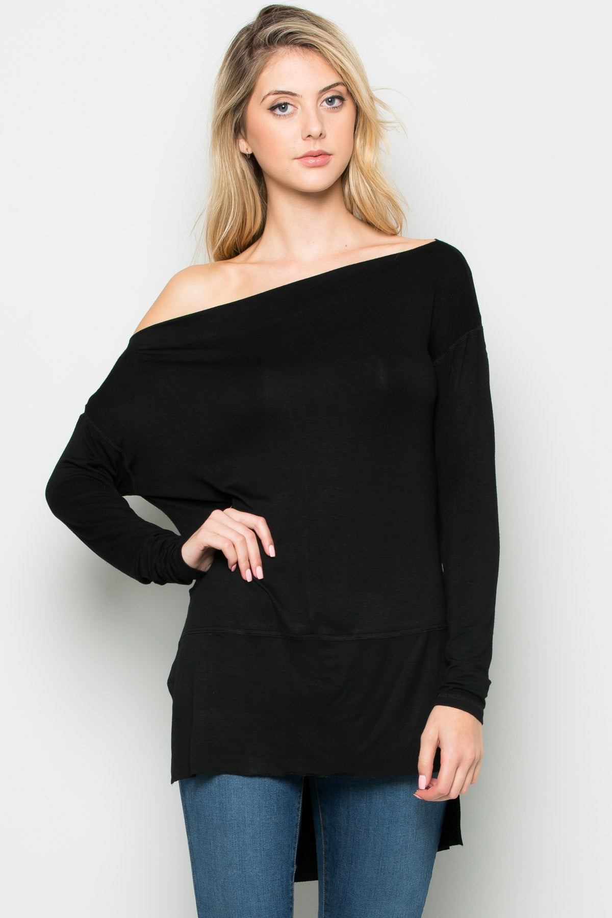 Black Boat Neck Hi-Low Blouse - Tops - My Yuccie - 5