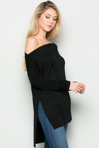 Black Boat Neck Hi-Low Blouse - Tops - My Yuccie - 1