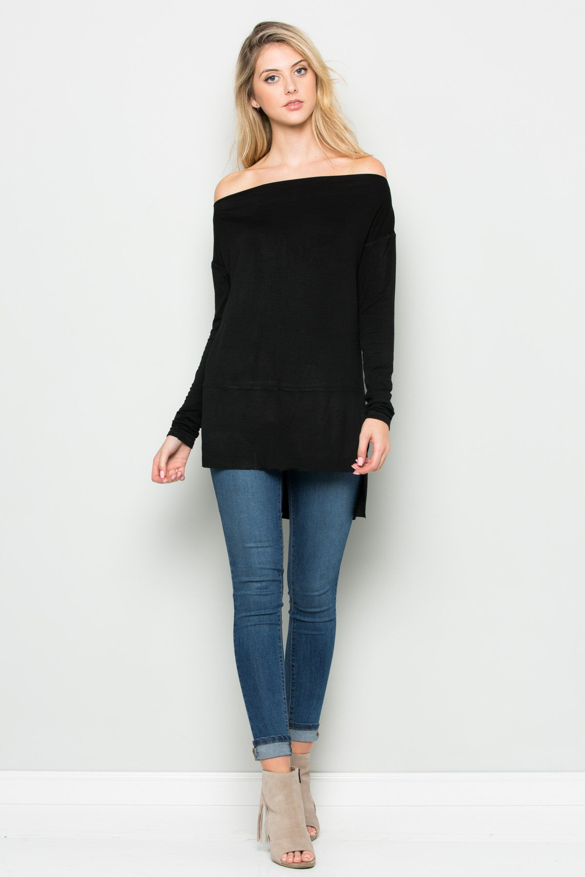 Black Boat Neck Hi-Low Blouse - Tops - My Yuccie - 4