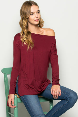 Burgundy Boat Neck Hi-Low Blouse - Tops - My Yuccie - 1
