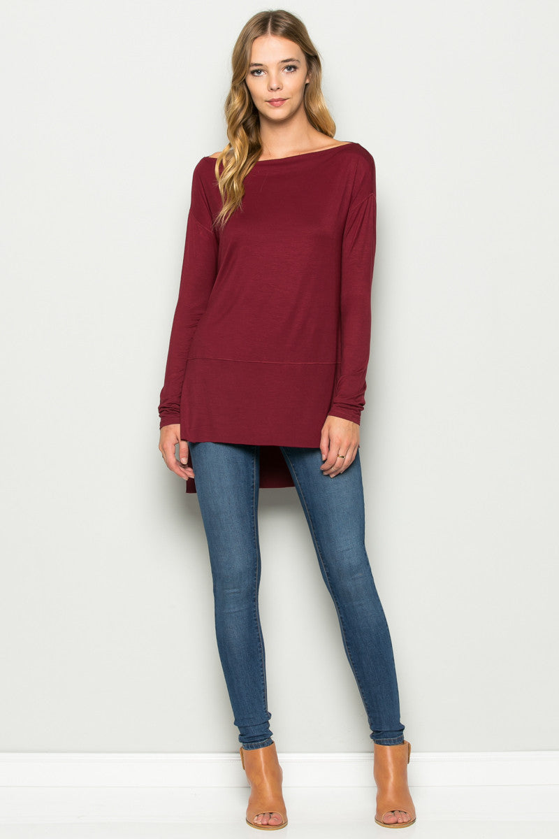 Burgundy Boat Neck Hi-Low Blouse - Tops - My Yuccie - 9