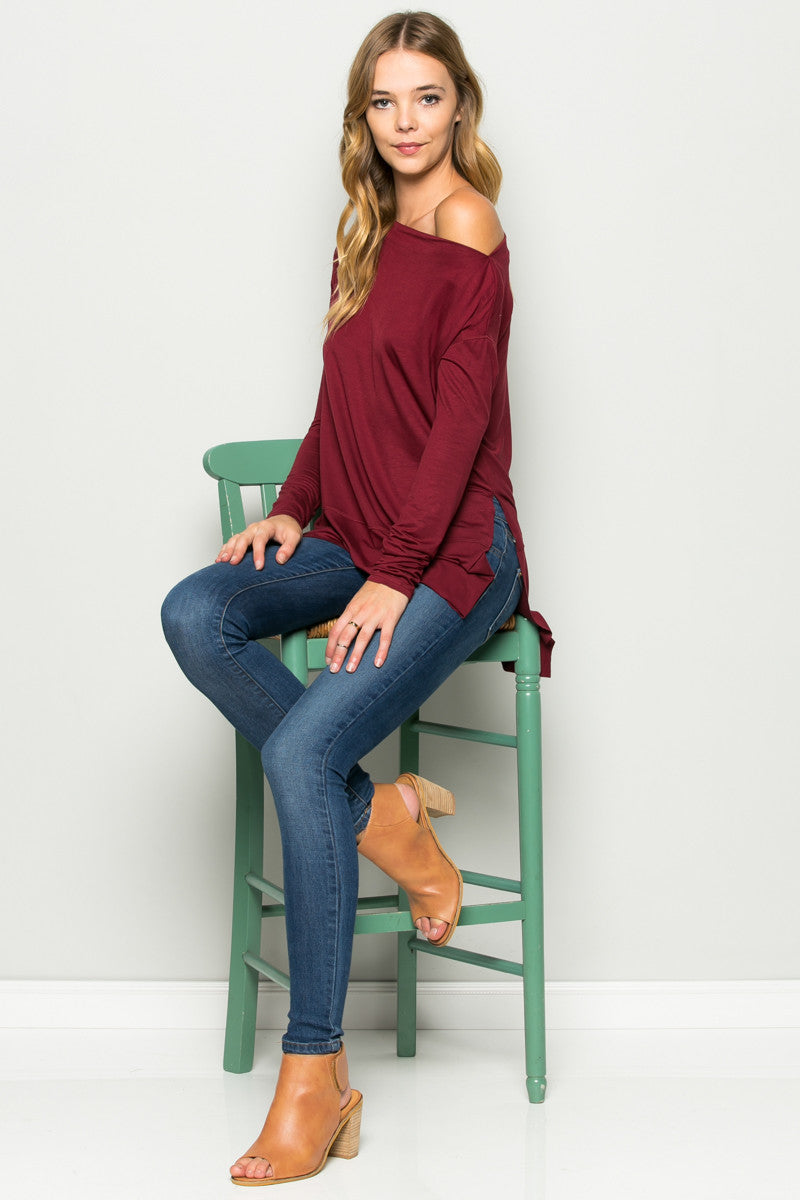 Burgundy Boat Neck Hi-Low Blouse - Tops - My Yuccie - 3