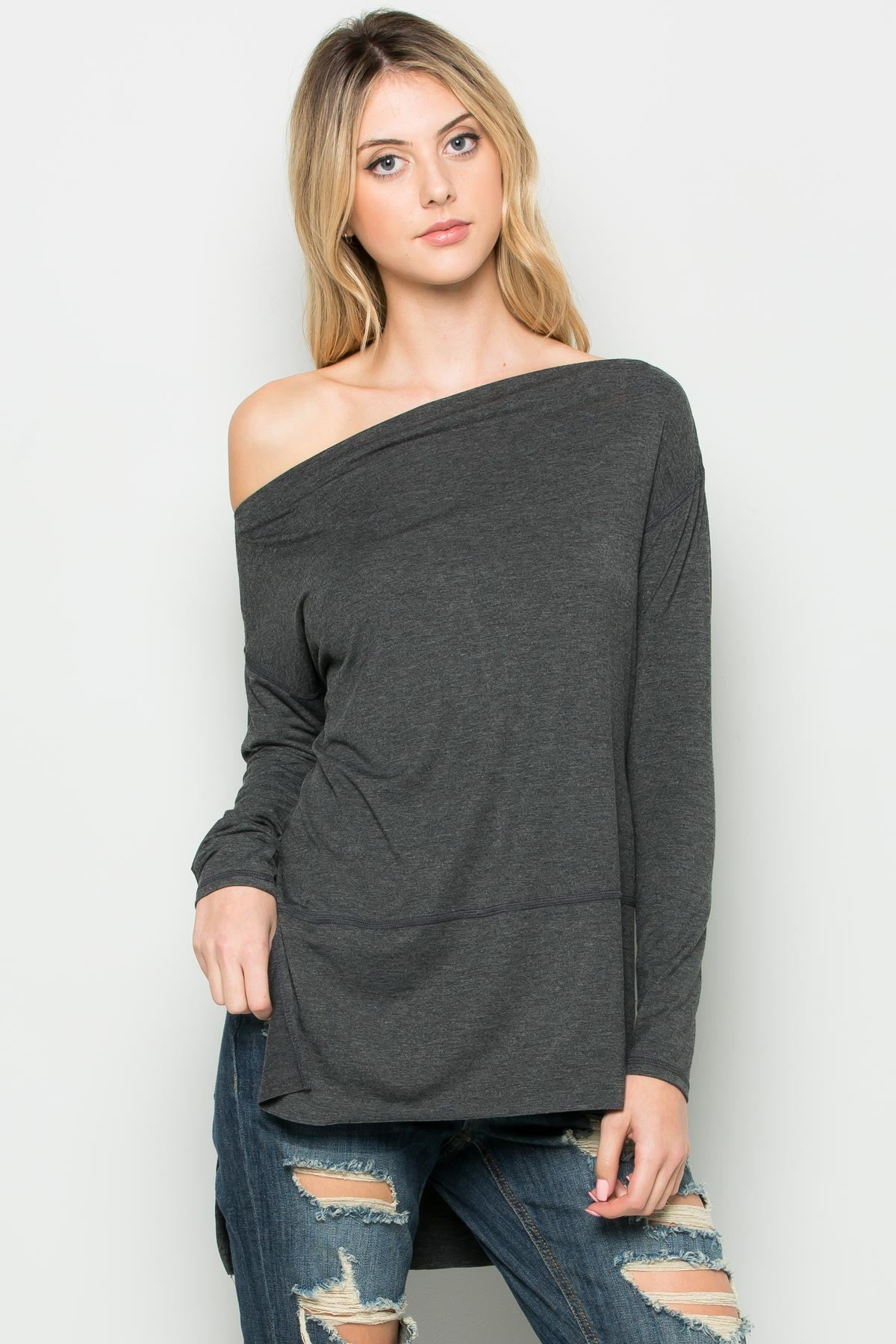 Black Boat Neck Hi-Low Blouse - Tops - My Yuccie - 8
