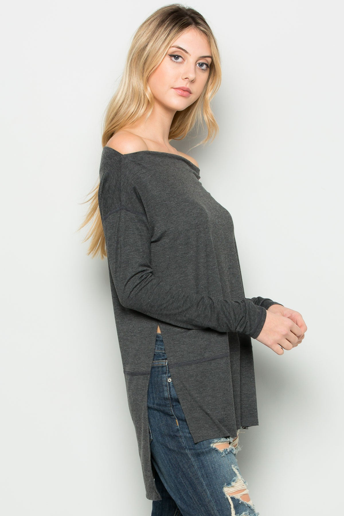 Charcoal Boat Neck Hi-Low Blouse - Tops - My Yuccie - 2