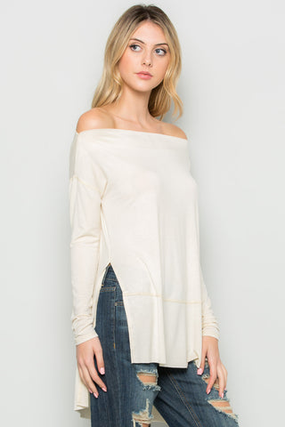 Ivory Boat Neck Hi-Low Blouse - Tops - My Yuccie - 1