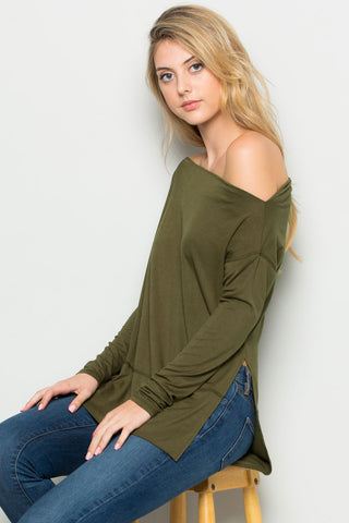 Military Green Boat Neck Hi-Low Blouse - Tops - My Yuccie - 1