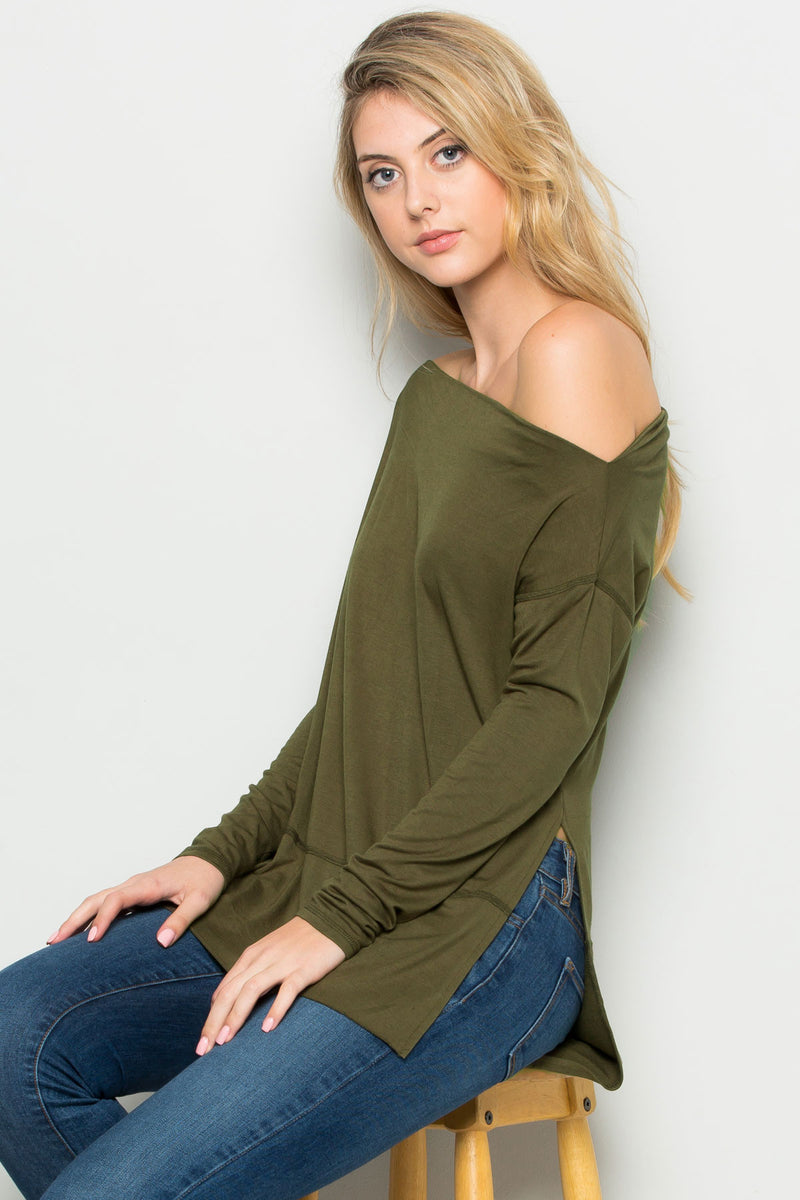 Ivory Boat Neck Hi-Low Blouse - Tops - My Yuccie - 6