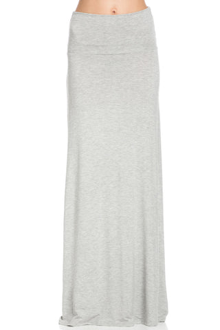 Fold Over Two-Way Maxi Skirt Heather Grey - Skirts - My Yuccie - 1