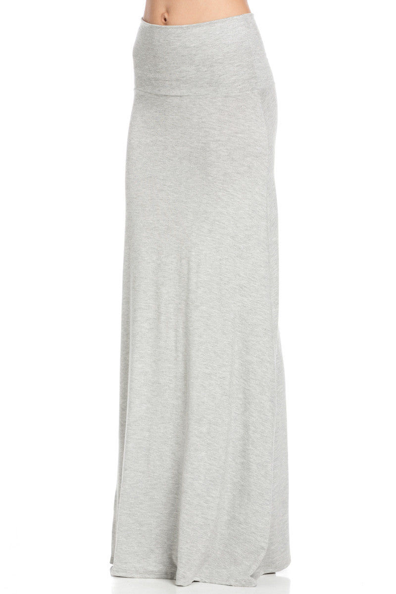 Fold Over Two-Way Maxi Skirt Heather Grey - Skirts - My Yuccie - 2