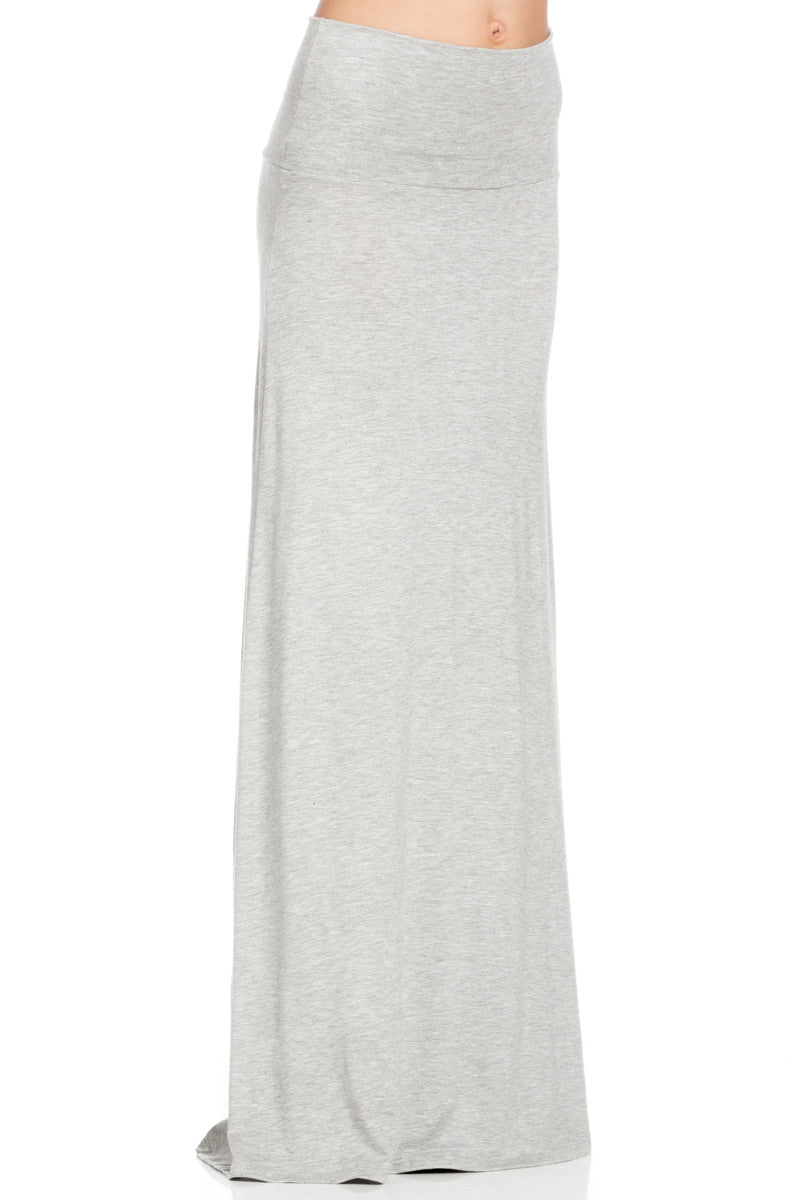 Fold Over Two-Way Maxi Skirt Heather Grey - Skirts - My Yuccie - 5