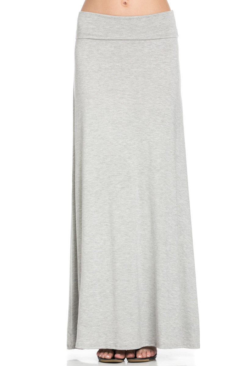 Fold Over Two-Way Maxi Skirt Heather Grey - Skirts - My Yuccie - 6