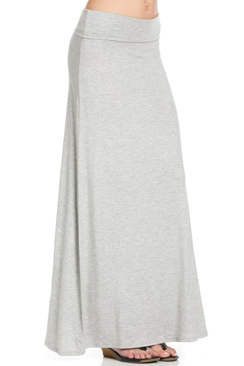 Fold Over Two-Way Maxi Skirt Heather Grey - Skirts - My Yuccie - 7