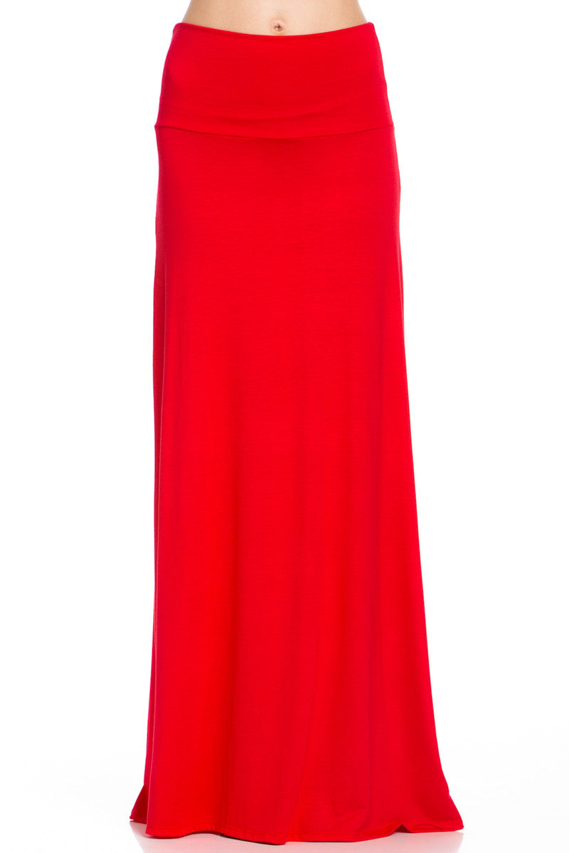 Fold Over Two-Way Maxi Skirt Red - Skirts - My Yuccie - 1