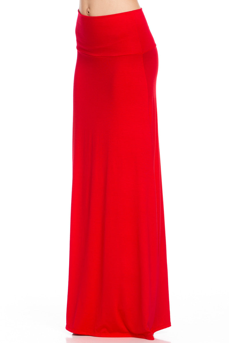 Fold Over Two-Way Maxi Skirt Red - Skirts - My Yuccie - 2