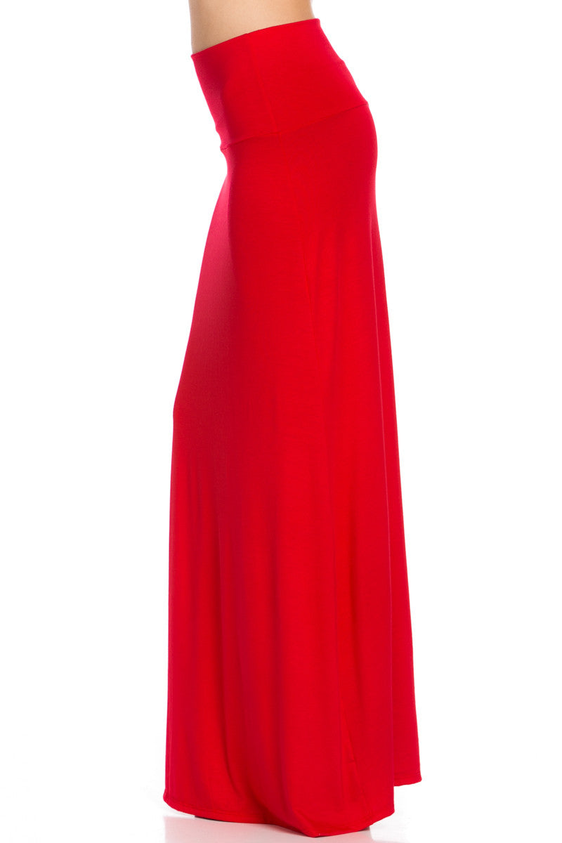 Fold Over Two-Way Maxi Skirt Red - Skirts - My Yuccie - 3