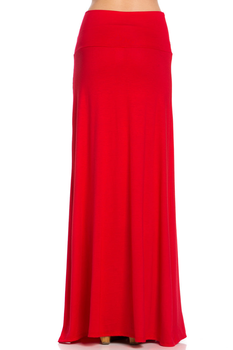 Fold Over Two-Way Maxi Skirt Red - Skirts - My Yuccie - 4