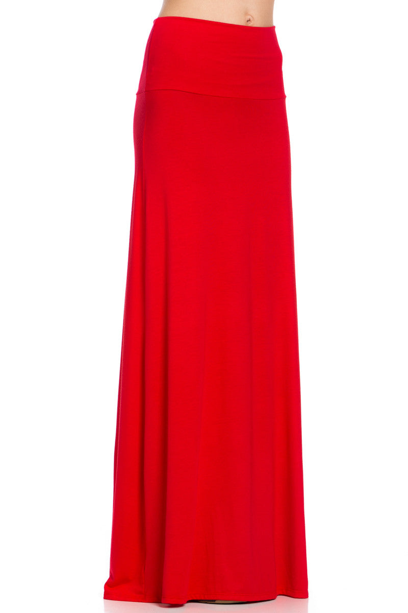 Fold Over Two-Way Maxi Skirt Red - Skirts - My Yuccie - 5