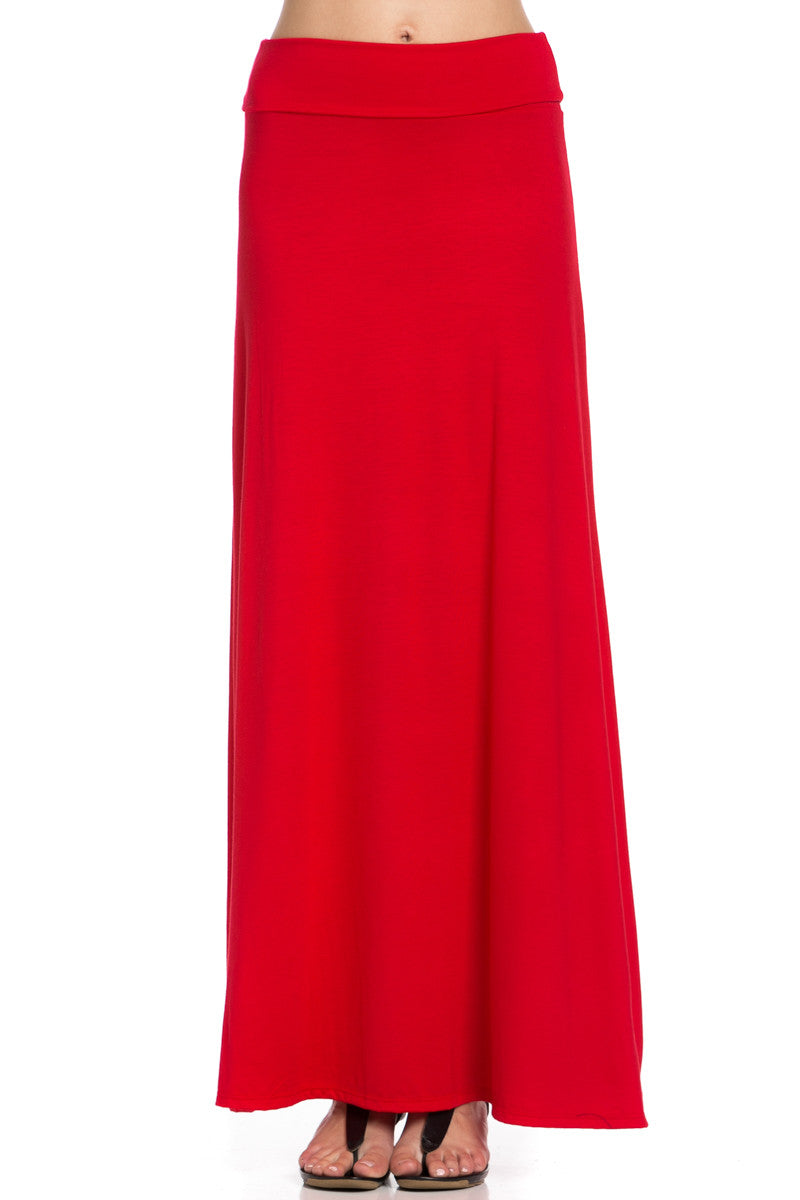 Fold Over Two-Way Maxi Skirt Red - Skirts - My Yuccie - 6