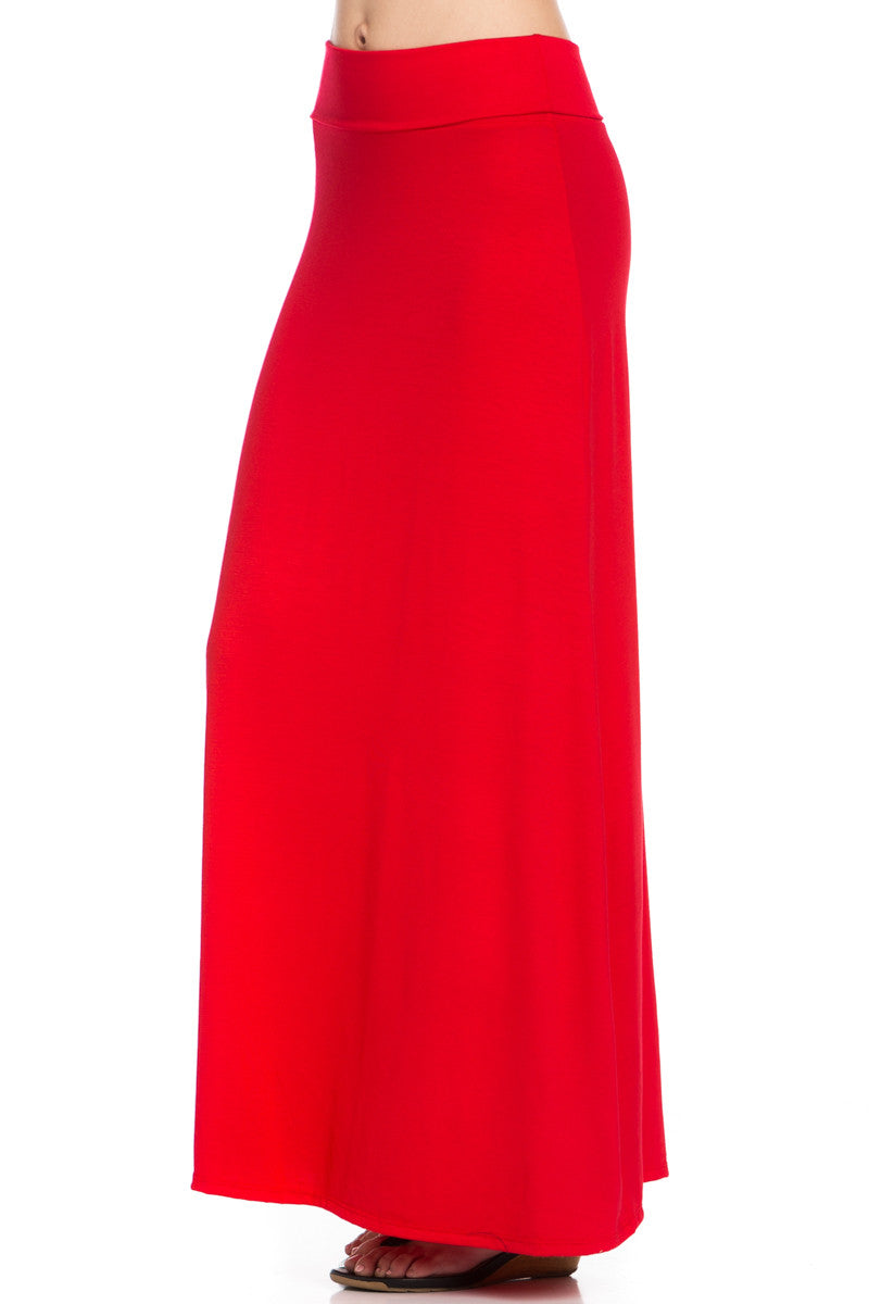 Fold Over Two-Way Maxi Skirt Red - Skirts - My Yuccie - 7
