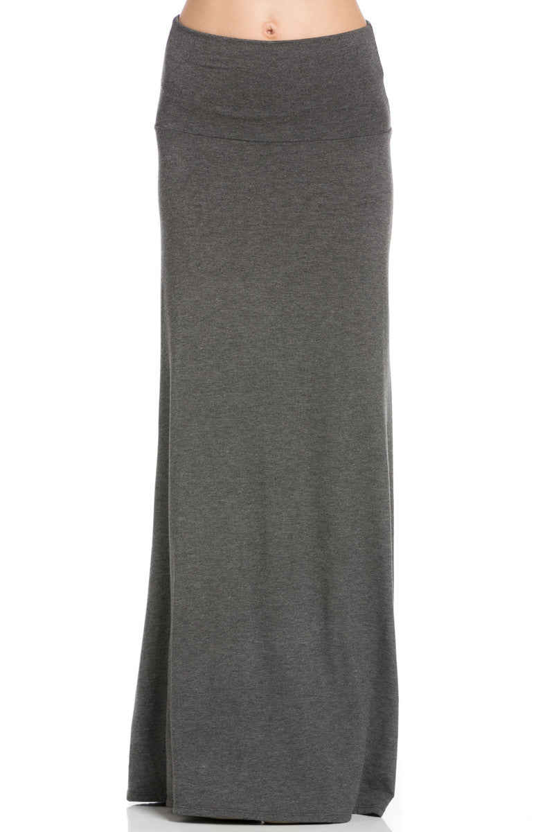 Fold Over Two-Way Maxi Skirt Charcoal - Skirts - My Yuccie - 1