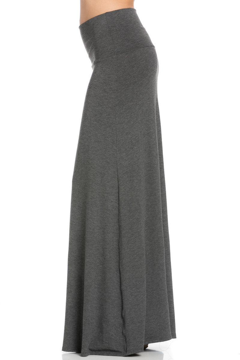 Fold Over Two-Way Maxi Skirt Charcoal - Skirts - My Yuccie - 3