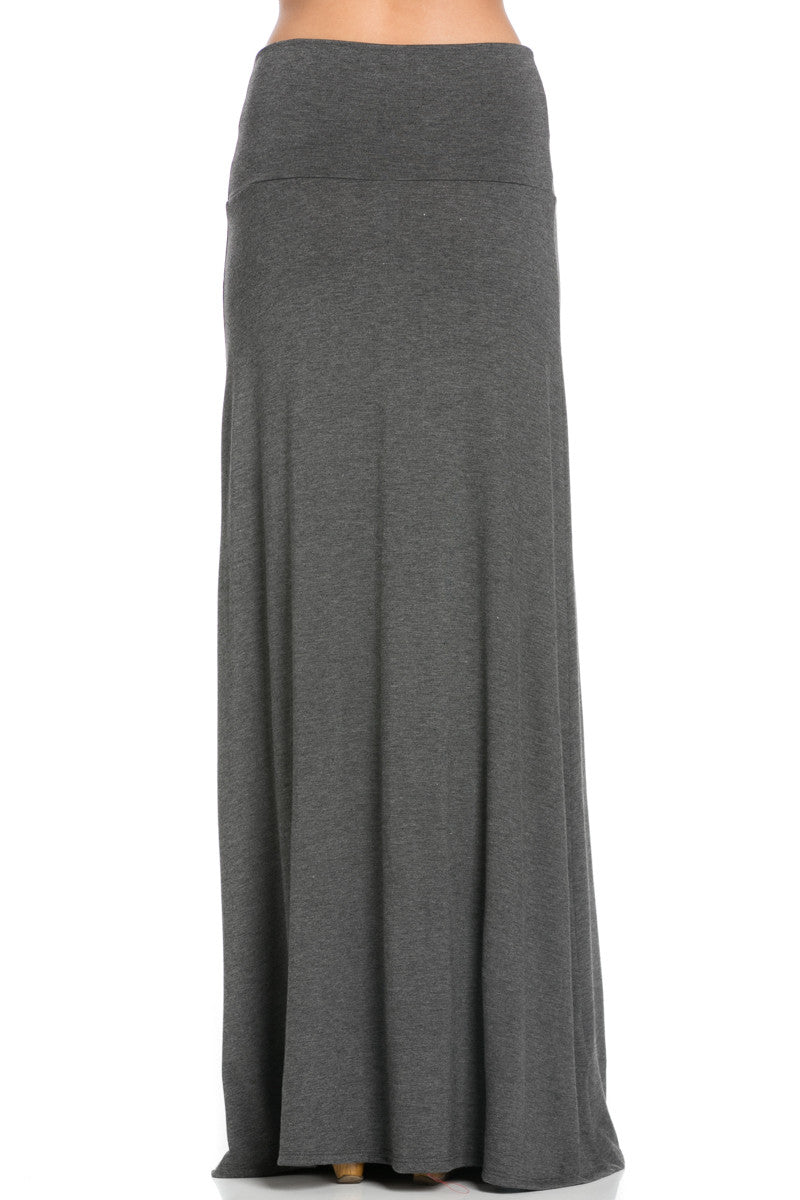 Fold Over Two-Way Maxi Skirt Charcoal - Skirts - My Yuccie - 4