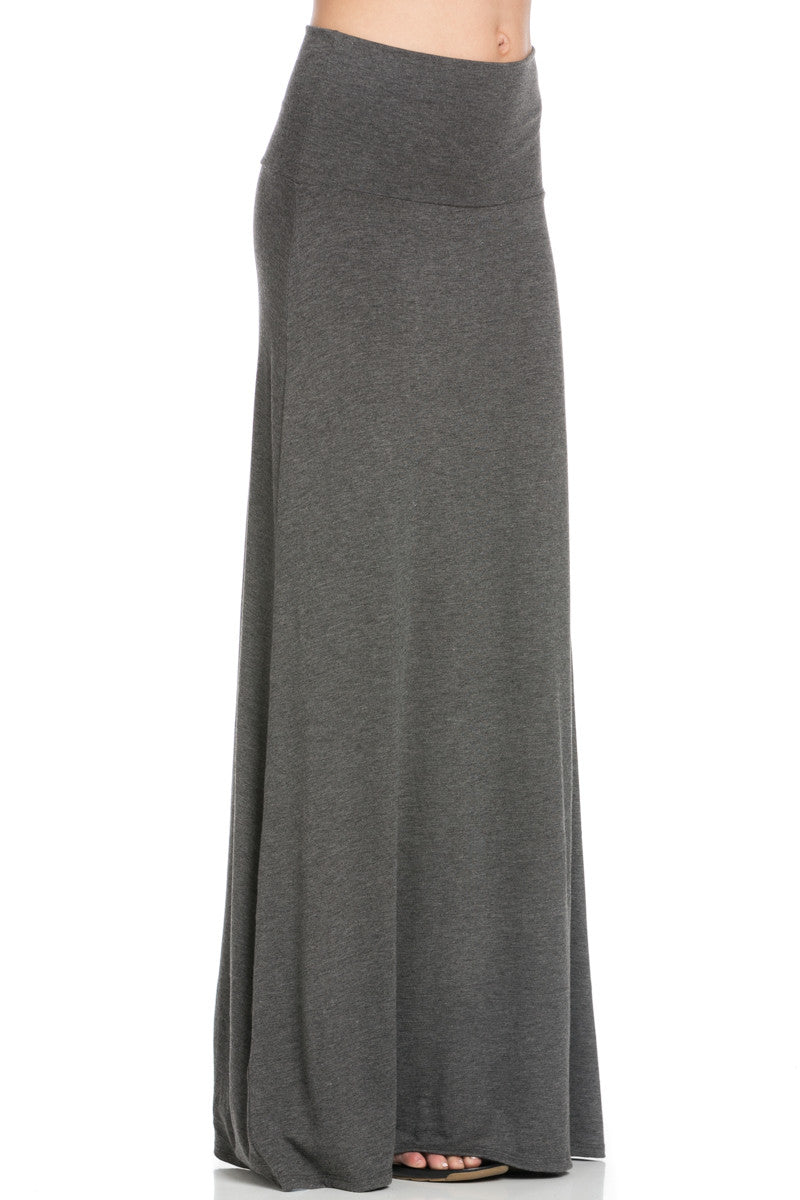 Fold Over Two-Way Maxi Skirt Charcoal - Skirts - My Yuccie - 5