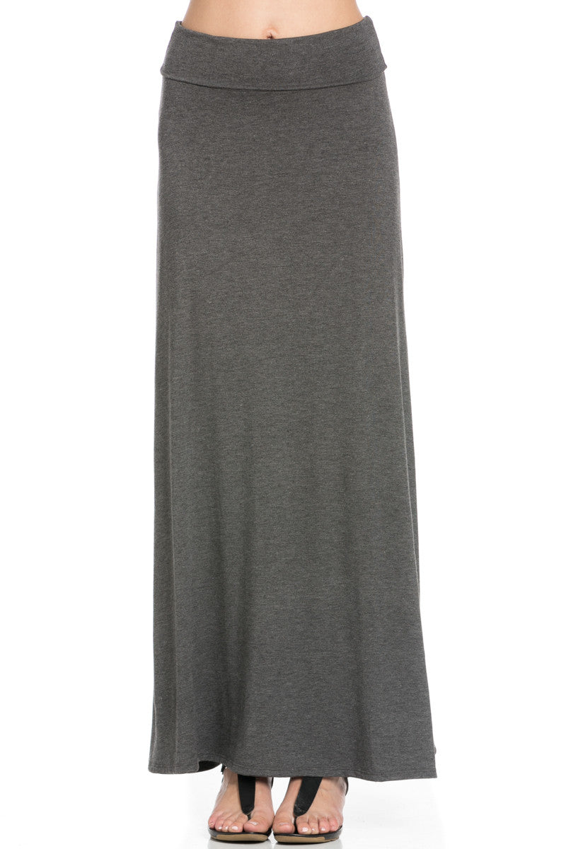 Fold Over Two-Way Maxi Skirt Charcoal - Skirts - My Yuccie - 6